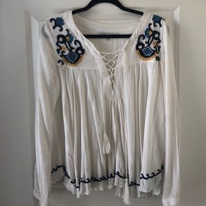 Lovers + Friends Embroidered Peasant Top